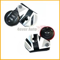 Wholesale leather key fob Black White Union Jack UK Flag Style Real Leather Key Fob Cover Holder For up MINI Cooper R55