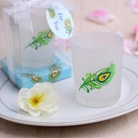 Wholesale Peacock Feather Candle Holders Wedding Favors Tea Light Candlestick with Box Party Favor Gift Home Decoration New