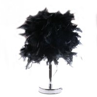 Wholesale Feather Shade Table Lamp Metal Vintage Elegant Bedside Desk Night Light Decor