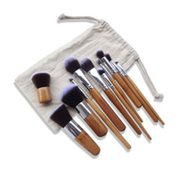 artificial bamboo poles - Newest Bamboo handle Makeup brush Set Bamboo pole Beauty tools With sacks Artificial fibers high quality Hot sale DHL free