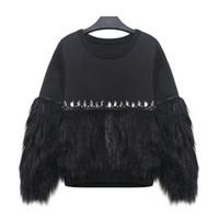 [WHOLESALE] 2016 Automne Hiver Femmes Sweat-shirt à capuche épaissi fourrure épissé avec strass Nouveau Streetwear