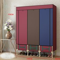 Wholesale Super Large Reinforced Portable Wardrobe Home Storage Hanger Closet Bold Creative Armoires Rack New