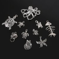 Wholesale random Mixed antique Silver Plated star Fish Tortoise metal Charms Pendant Jewelry findings for DIY fashion necklace