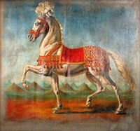 One Panel battle art - Framed white horse battle steed in landscape Pure Hand Painted Animal Art Oil Painting On Canvas Multi sizes HS071