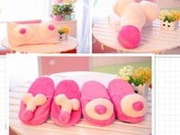 Wholesale New Boobs Breast Slipper willy Penis slippers Novelty JOKE GIFT Pink Hen Stag Night funny pillow party gift