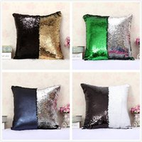 Wholesale Fashion gift Magic Glamour Bright Pillow Color Sequin Mermaid Pillow Covers Reversible Cushion Cover Home Sofa Car Decor CASE