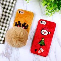 apple iphone sock - New Arrival Christmas Elk Cute Santa Claus Plush Ball Phone Shell for Iphone s plus plus Green Tree Sock