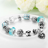 Wholesale Bottom Price Promotion Weeks LZESHINE Antique Silver Original Women Glass Charm Bracelet Bangle Fit Charm Bracelet