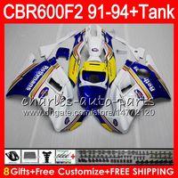 Comression Mold For Honda CBR600 F2 8 Gifts 23 Colors For HONDA CBR600F2 91 92 93 94 CBR600RR FS Rothmans Blue 1HM10 CBR 600F2 600 F2 CBR600 F2 1991 blue 1992 1993 1994 Fairing