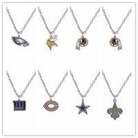 american saints - 20pcs Cowboys Chicago Saints Gaints American Football Team Logo Enamel Pendant Necklace For Fan AH103949