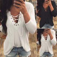 Wholesale Sexy Long Sleeve Casual Tops Blouse T Shirts For Women Girls Cotton Blended V Neck Lace up Front Styles
