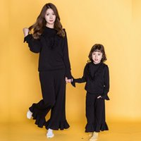 Wholesale Hug Me Girls and Mothers Knitting Sets Family Alikes Lace New Autumn Winter Long Sleeve Coat and Pants AA SO