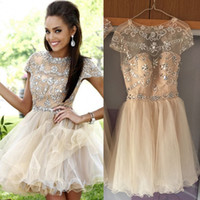 Wholesale Real Image Short Prom Dresses A Line Crystal Beading Capped Open Back Short Homeciming Cocktail Party Gowns