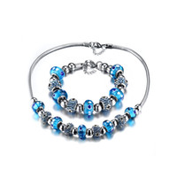 Wholesale Shardon High polished Stainless steel blue dots glass ball necklace bracelets jewelry sets have in stock