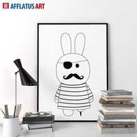art deco posters - Nordic Black White Superhero Pirates Of Rabbit Art Print Poster Wall Picture Canvas Painting Kids Room Home Deco