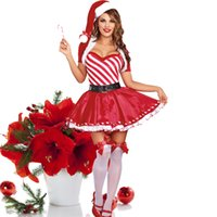 adult holiday costumes - 2016 new women s sexy Christmas stripe plays a holiday Christmas clothing adult Santa Claus