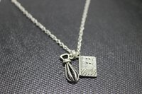 antique cookbooks - antique silver tone Whisk cookbook charm pendant necklace Baking jewelry chain necklace