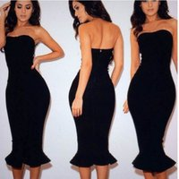 Wholesale DHL New sexy evening dresses women strapless bodycon Mermaid Sweep Train Corset party Dresses summer clothing