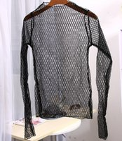 Wholesale The spring and summer of hot sexy lace shirt mesh long sleeved T shirt hollow grid coat female perspective