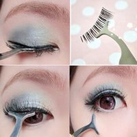 Wholesale 1pc False Eyelashes Curler Stainless Steel Multifunctional Auxiliary Clip Tweezers Eye Lash Clip Makeup Cosmetic Tools