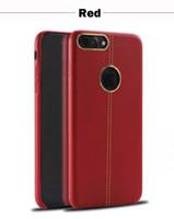 Para el iphone rojo 7 7 cuero de cuero del caso más cosiendo con la caja del anillo del metal Caja de los casos del teléfono celular de la protección de TPU
