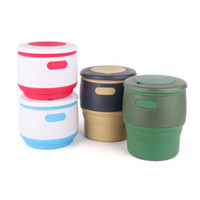 Wholesale Collapsible Cups Fordable Travel Silicone Creative Drink Mug ml Flexible Portable Outdoor Pop up Cup Tooth Mug Fold Flat for Storage