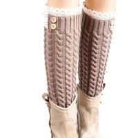 Venta al por mayor-Mejor Negocio Mujer Invierno cálido suave de lana de encaje tejidos Twist pierna calentadores Boot calcetines 1 par