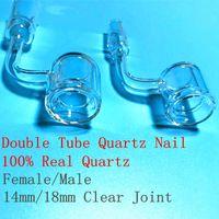 Dernières Design Double Tube miel seaux Quartz ongles Club banger Dab Rigs Bong clou ongles sans clous Avec 90 degrés Bend 18 mm 14mm Homme Femme