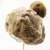 big bump hair - South Korea warm big rabbit hair ball twist bump color mix knitted knit sheep wool cap beret children new autumn and winter day