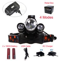 Wholesale RJ XM L T6 R5 LED Linternas Frontales Cabeza Lumen Headlamp Flashlight Mode Camp Head Lamp Light Ac Charger battery