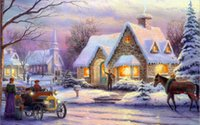 Wholesale Modern Art Painting Oil on canvas Snow day Beautiful scenery by Thomas Kinkade High Quality Printing unframed
