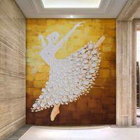 Flocking ballet art prints - D Stereo HD Pure Hand Painted Oil Ballet Art Entrance Shopping Mall Hotel Lobby Living Room Wallpaper Mural