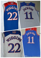 Wholesale Andrew Wiggins Jersey Josh Jackson Jersey College Basketball Jerseys Mens Full Stitched Embroidery Blue White