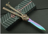 alloy die cast - New style Multicolored Number black widow Spider Butterfly knife Balisong knife Alloy die casting handle