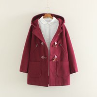 Wholesale The new wind in the long winter hooded horn button wool woolen coat coat of female students