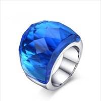 Wholesale 2016 New Fashion Large Rings for Women Wedding Jewelry Big Crystal Stone Ring Stainless Steel Anillos