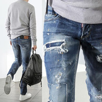 Wholesale Patchwork Jeans Cool Guy Damage Painted Effect Destroyed White Washed Denim Pants Man Brand Name Design Destroyed Cowboy Trousers