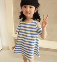 Casual baby sailor dresses - Mother and daughter dresses Striped off shoulder puff sleeve dress Cotton baby girls women knit dress Beach Sailor dresses new arrival