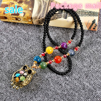 China-Miao beaded owl necklace - 2017 package mail national wind accessories clothing joker The owl sweater chain Best match act the role of ms long necklace