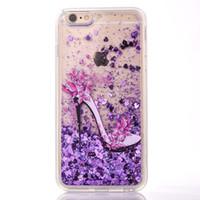 Wholesale Liquid Unicorn TPU PC Hard glitter Case For iphone S Plus I7 High Heel Bling Glitter Quicksand Skin Star Love Cover