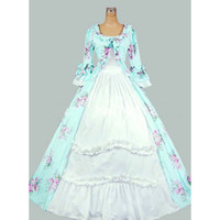 Wholesale 2016 Costume Vintage Gothic Medieval Renaissance Queen Floral Print Dresses Southern Belle Princess Ball Gowns For Women