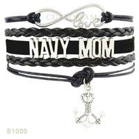 achat en gros de bracelet en cuir noir infini d'ancrage-(10 Pieces / Lot) Infinity Love Navy Mom Anchor Sister Anchor Charm Bracelet Blanc Marine Bleu Noir Suede Leather Wrap Bracelet N'importe quel Thème