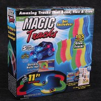 Wholesale Magic Tracks Bend Flex Racetrack Kids Amazing Race Track Children LED Light Up Car Grows In The Dark Magic Model Cars Gifts F196