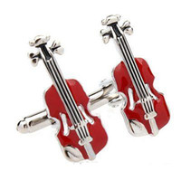 Wholesale Hot Selling Red Violin Shape Cufflinks for Shirts Cufflink For Mens French Sleeve Nail