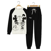 Wholesale Mickey Minnie Hoodies Women s Tracksuits Sports Suit Newest Cartoon Hoodies Jogging Sportswear Minnie mouse femme
