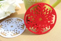 Wholesale Snowflake Bowl Pad Hair Felt Cup Mat Heat Protection Table Mat Cup Pads Cup Coaster Placemats Christmas Table Decoration