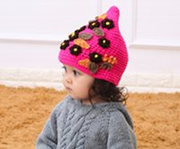 Wholesale Sunflower series children hand knit hat three colors blue white and red China hand woven children s hats latest models Exquisite workm