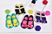 Wholesale Mini Melissa Girls Sandals Summer style kids shoes Cute Bow Children Bowtie Baby beach shoes colors