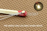 Wholesale T0805WM Pre soldered micro litz wired leads Warm White SMD Led NEW