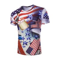 Men Crew Neck Short Sleeve 2017 New Hot Man USA Stars And Stripes Flag Wholesale 3D Personality Independence Day Stamp Men's Short Sleeve T-Shirt